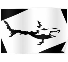 Fire Shark Black and White Silhoutte Poster