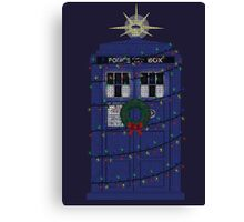 Police Box Christmas Knit Canvas Print