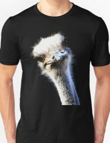 Ostrich Head Portrait Isolated on Black T-Shirt