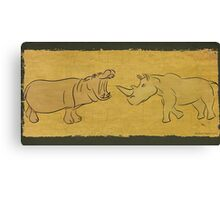 Gentle Giants - Rhino and Hippo Drawing on Tribal Pattern Canvas Print