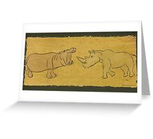 Gentle Giants - Rhino and Hippo Drawing on Tribal Pattern Greeting Card