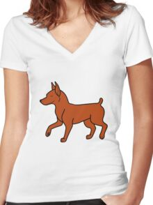 Red Miniature Pinscher Women's Fitted V-Neck T-Shirt