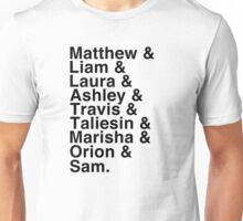 The Cast of Critical Role - Helvetica List Unisex T-Shirt