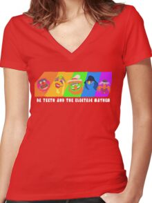Dr Teeth and the Electric Mayhem Rainbow (The Muppets) Women's Fitted V-Neck T-Shirt