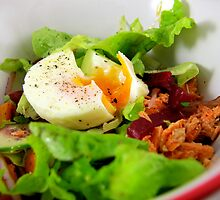 Red Salmon and soft poached egg salad by LifeisDelicious