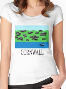 Cornwall fishing village Women's Fitted Scoop T-Shirt