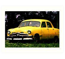 Taxi Cab Yellow Chevy Art Print