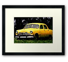 Taxi Cab Yellow Chevy Framed Print