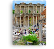 Tourists Flood The Library of Celsus - Ephesus Canvas Print