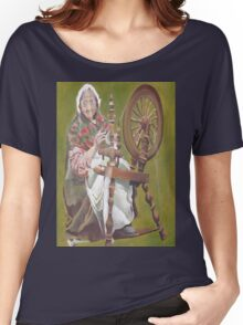 Old Irish Woman Sitting At A Spinning Wheel Women's Relaxed Fit T-Shirt