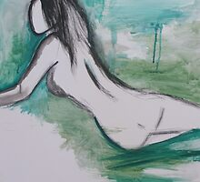 female nude on green ink wash by Hayley Walker