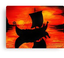 Viking Longboat Sunset Canvas Print