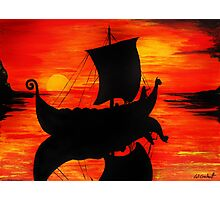 Viking Longboat Sunset Photographic Print
