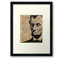 President Abraham Lincoln Illustration Over Old Book Page Framed Print