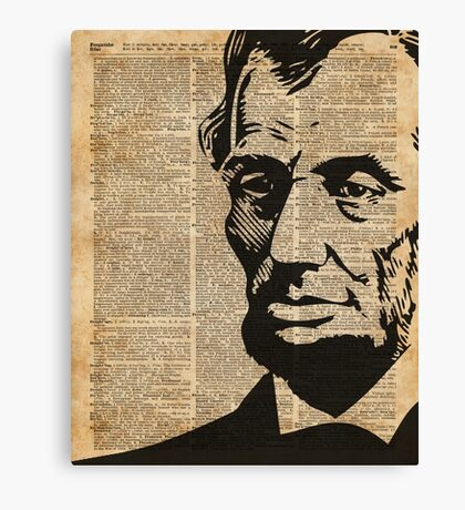 President Abraham Lincoln Illustration Over Old Book Page Canvas Print