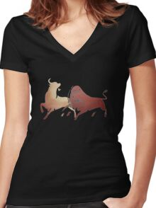 Bull Fight In Brown Women's Fitted V-Neck T-Shirt