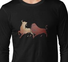 Bull Fight In Brown Long Sleeve T-Shirt