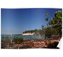 The magic of Arnhem Land - white cliffs, green trees and blue sea. Poster