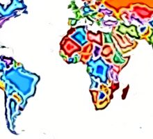 Painting Style Colored World Map Sticker