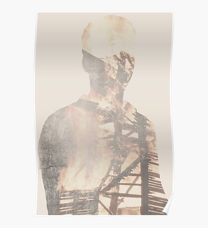 Double Exposure Abstract Portrait Poster