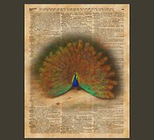 Colourful Beautiful Peacock Vintage Dictionary Art Unisex T-Shirt