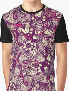 Modern Rustic Red Floral Drawings Graphic T-Shirt