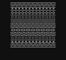 Aztec Influence II Pattern Grey on Black Unisex T-Shirt