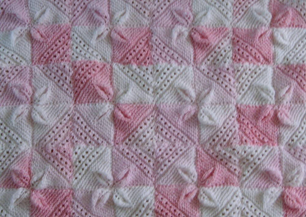 Knitting Patterns For Squares Baby Blanket :