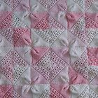 Knitted Pink Square Petals Baby Blanket  by mrsmcvitty
