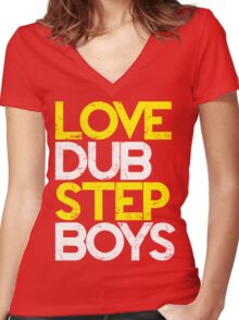 Love Dubstep Boys (yellow) Women's Fitted V-Neck T-Shirt
