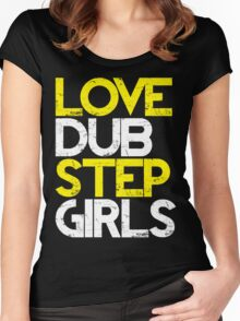 Love Dubstep Girls (neon green) Women's Fitted Scoop T-Shirt
