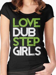 Love Dubstep Girls (neon green) Women's Fitted Scoop T-Shirt