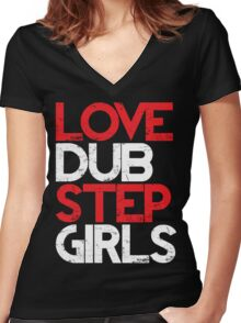 Love Dubstep Girls (red) Women's Fitted V-Neck T-Shirt