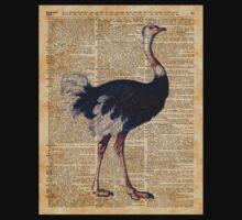 Ostrich Big Bird Animal Vintage Dictionary Illustration One Piece - Short Sleeve