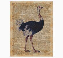 Ostrich Big Bird Animal Vintage Dictionary Illustration Kids Tee