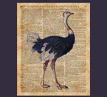 Ostrich Big Bird Animal Vintage Dictionary Illustration Unisex T-Shirt