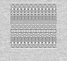 Aztec Influence II Pattern White on Grey Unisex T-Shirt