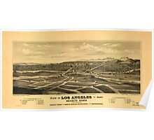 Panoramic Maps View of Los Angeles from the east Brooklyn Hights in the foreground Poster