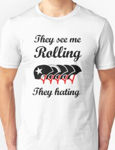 They See Me Rolling (Roller Derby) Black design Unisex T-Shirt