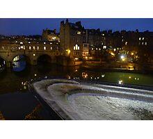 Pulteney Bridge at night - City of Bath. Photographic Print
