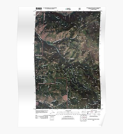 USGS Topo Map Washington State WA Boundary Mountain 20110505 TM Poster