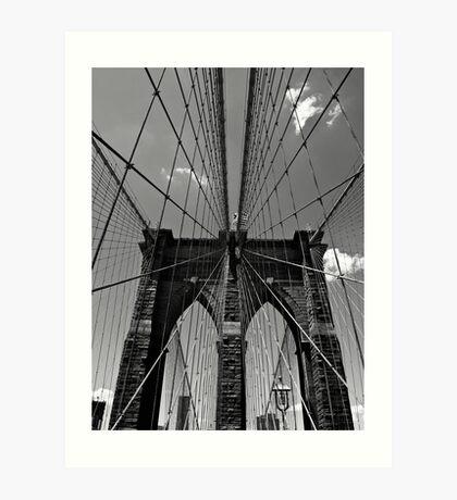 Brooklyn Bridge Wires - Black & White Art Print