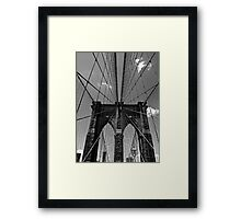 Brooklyn Bridge Wires - Black & White Framed Print
