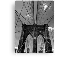 Brooklyn Bridge Wires - Black & White Canvas Print