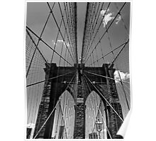 Brooklyn Bridge Wires - Black & White Poster