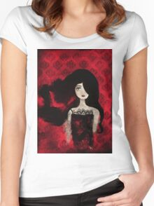 Female Portrait midst a Red Damask Painted Wall Women's Fitted Scoop T-Shirt