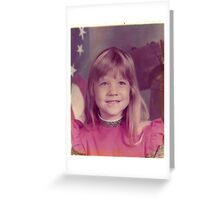 young girl preschool vintage old photo 1970s Greeting Card