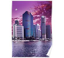 Brisbane Cityscape by Moonlight Poster