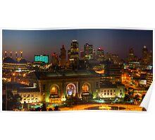 Kansas City night skyline Poster