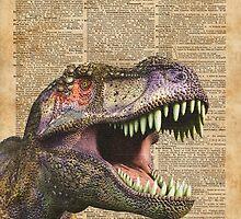 T-rex,tyrannosaurus,dinosaur Vintage Dictionary Art by DictionaryArt